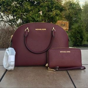 NWT Michael Kors Emmy Large Dome Satchel & Wallet